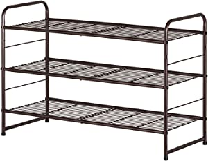 Bextsrack 3-Tier Shoe Rack, Stackable & Adjustable Wire Grid Shoe Shelf Storage Organizer for Closet Bedroom Entryway - Bronze