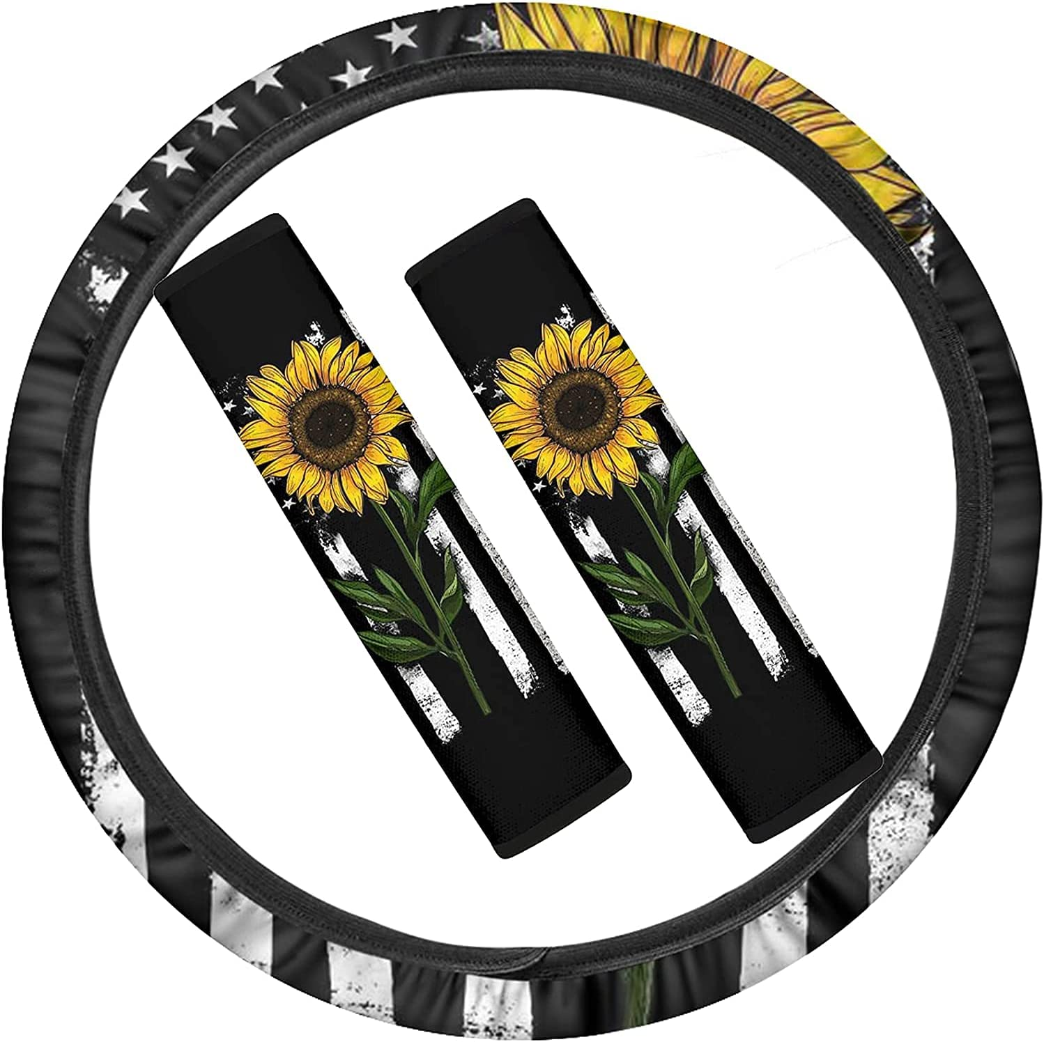 FKELYI American FlagYellow Sunflowers Max 62% OFF Department store Wheel Steering Car Decor