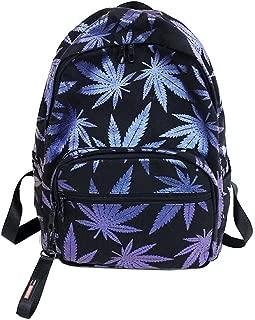 Marijuana Leaf Backpack Cannabis Weed Bookbag Reefer Grass Casual Daypack Pot Leaf Shoulder Bag Hemp Leaf Rucksack