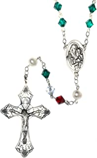 Italian Catholic Prayer Rosary Made with Green, White, Red and White Pearlized Swarovski Crystals