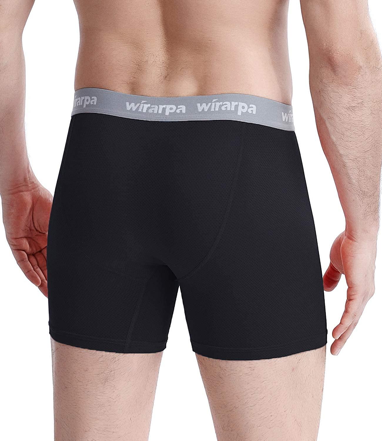 wirarpa Mens Cool Mesh Boxer Briefs Soft Breathable Underwear Tag-Free Quick Dry 4 Pack
