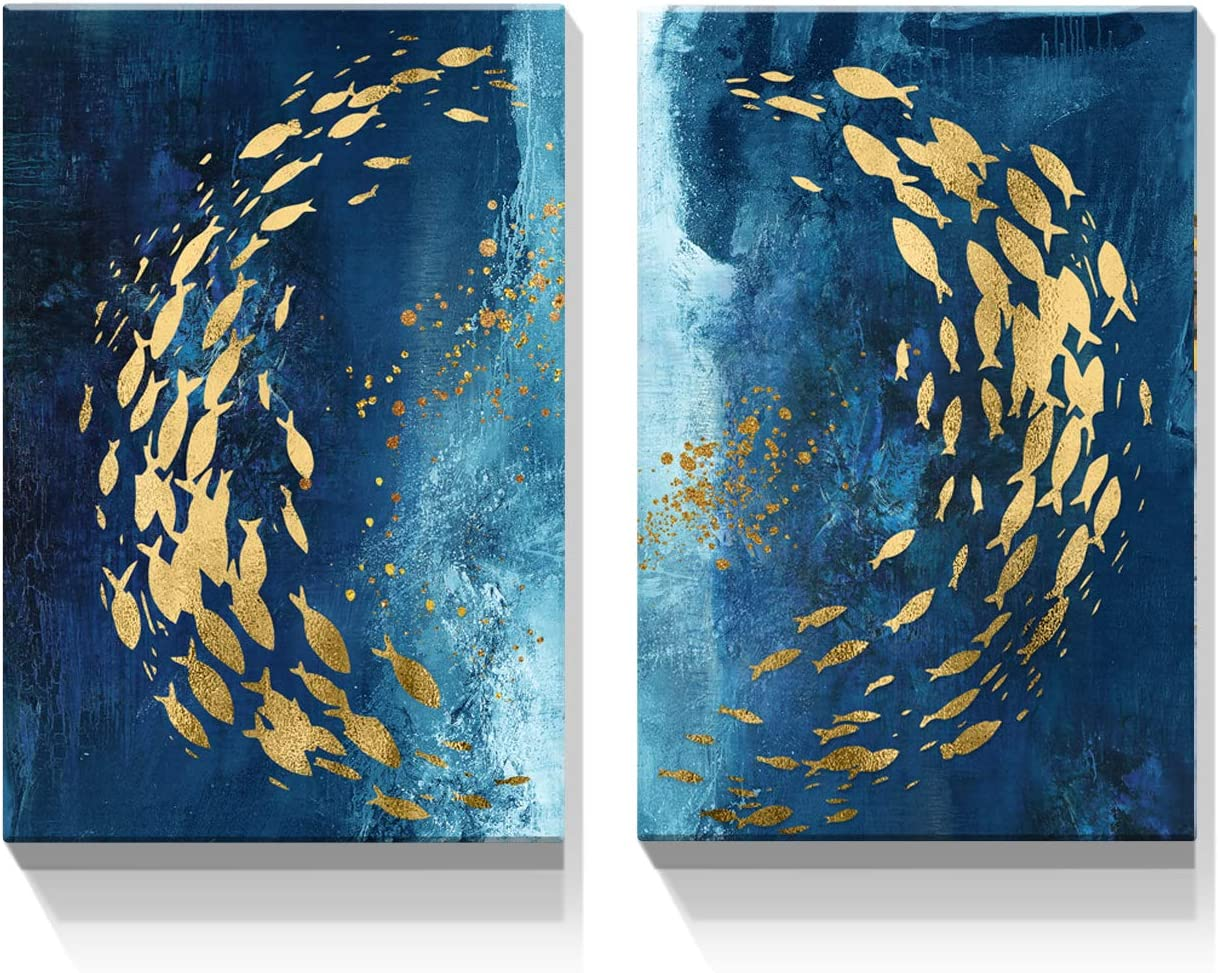 Looife Blue and Gold Abstract Canvas Wall Nippon regular agency Art Free shipping / New Pinting 12x1.5x18