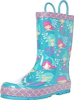حذاء المطر المطاطي المطبوع مقاوم للماء من ويسترن شيف مع مقابض سهلة الارتداء حذاء مطر للفتيات