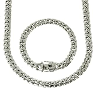 Solid Silver Finish Stainless Steel 10mm Thick Miami Cuban Link Chain Box Clasp Lock