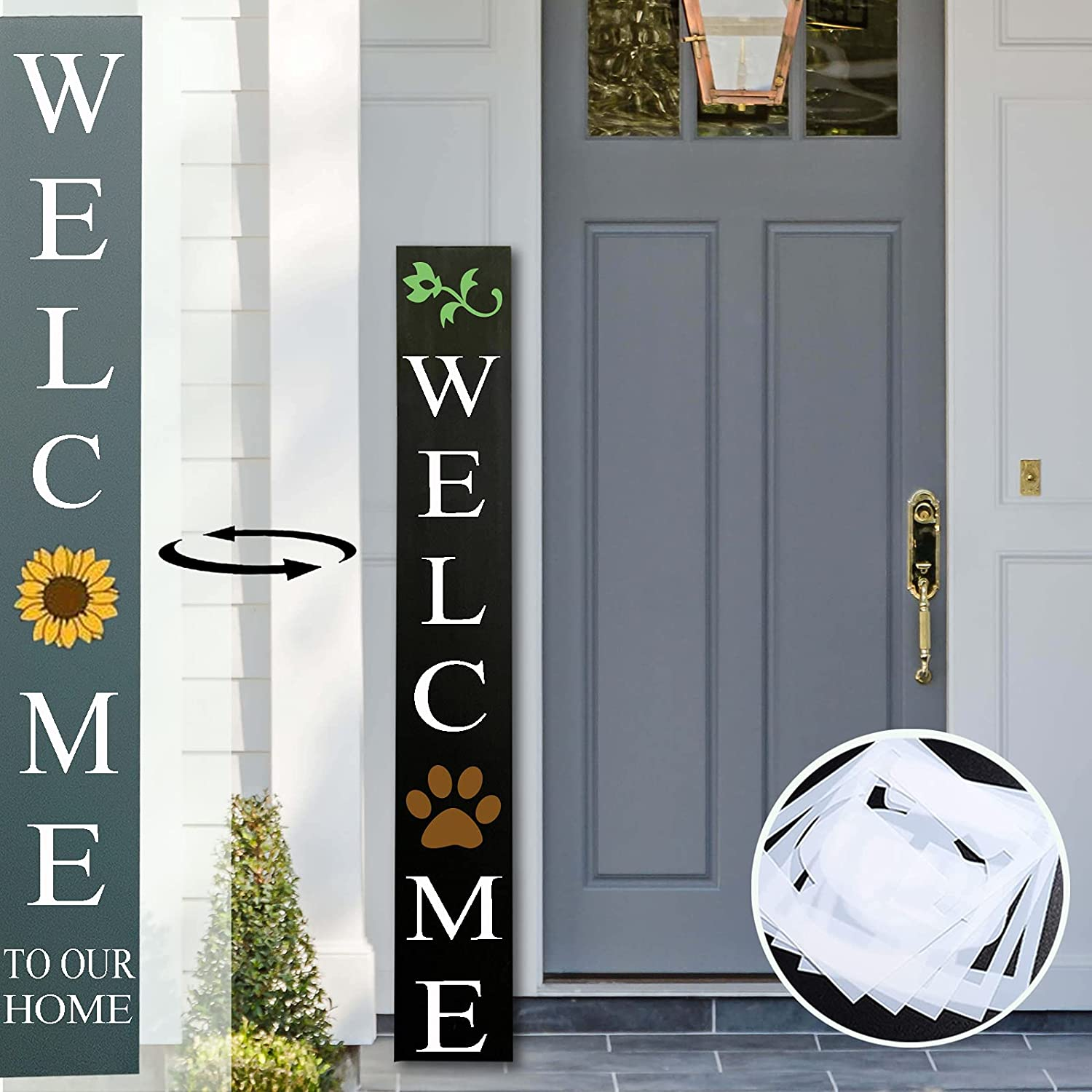 Tall Outdoor Welcome Sign for Front Porch , 2 Sided 4 Feet Tall, Blank Wooden Vertical Welcome Sign Front Door Decor, Rustic DIY Welcome Home Sign, Farmhouse Decorative Outdoor Signs