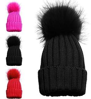 e443c68a91e87 Bonnet pour fille avec 1 ou 2 pompons, chapeau pour l'hiver avec pompon