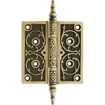 left side Antique 3 1//2 x 3 cast iron hinge