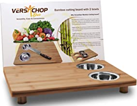 VersaChop Duo, Large 18 inch X 12 inch Cutting Boards for Kitchen.Totally Natural Organic Moso Bamboo with Two Stainless Steel Bowls. A board for food organization and storage or stove top cover.