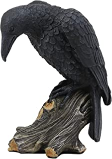 Ebros Gift Gothic Raven Crow Stalking Prey On Tree Stump Statue Scavenger Bird Figurine 7.25