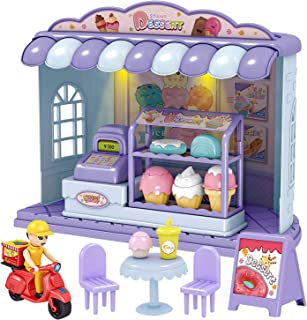 XMASGIC Pretend Play Toy Sets, Play Store Toys with Light, Play Food with Ice Cream/Dessert Pantry, Take-Out Worker, Cashi...