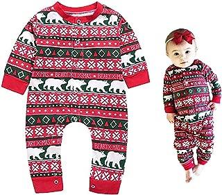 Baby Kids Christmas Polar Bear Print Rompers Long Sleeve Pajamas Jumpsuit