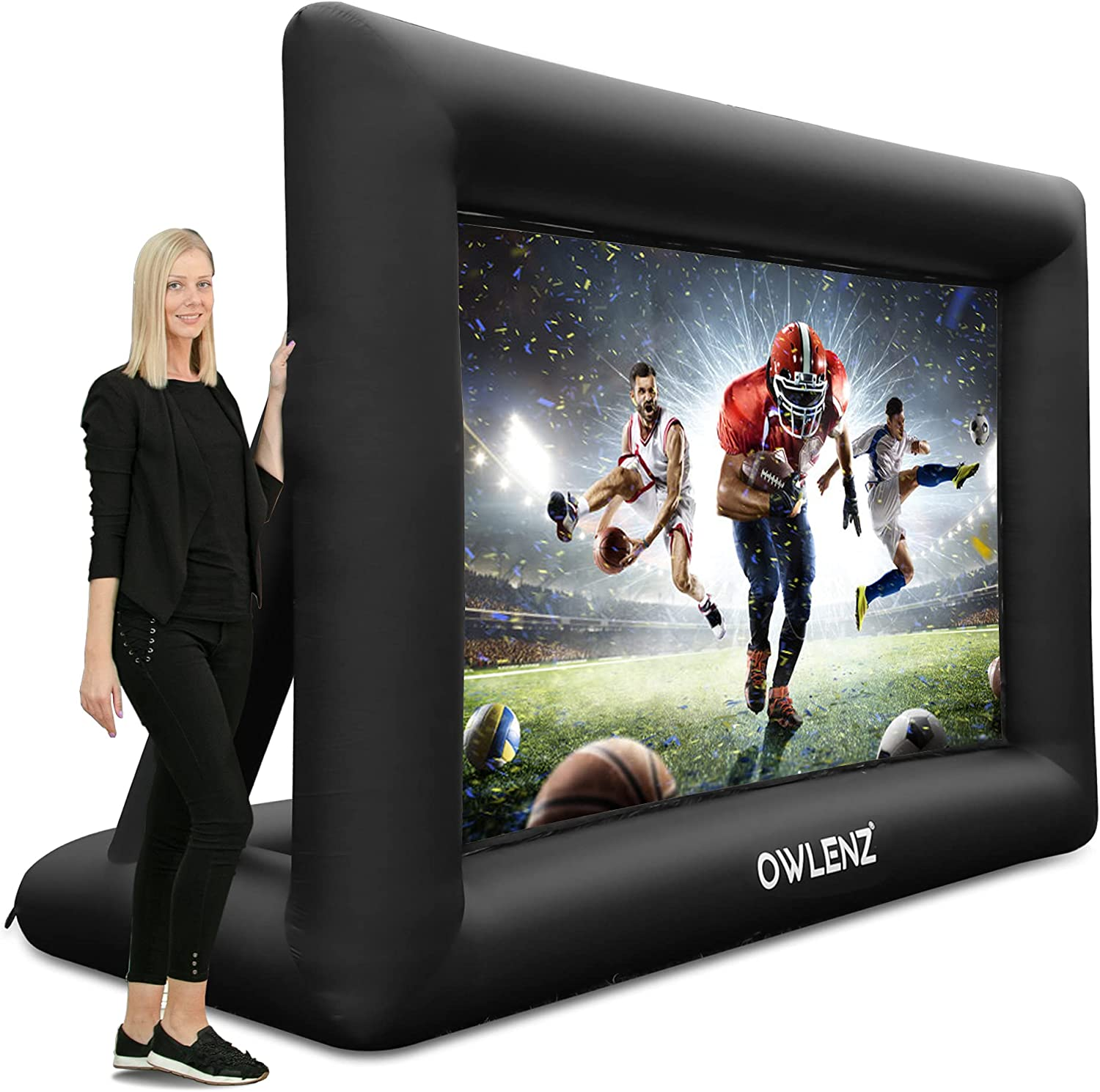 OWLENZ 16 feet Portable Inflatable Home Theater Projector Screen 16:9 4K HD Outdoor and Indoor Inflatable Movie Projection Screen with Inflation Fan and Carrying Bag