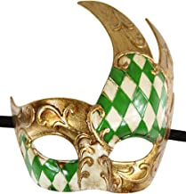 Luxury Mask Men's Vintage Design Prom Mardi Gras Musical Checkered Masquerade