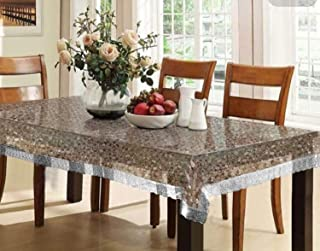 Kuber Industries PVC 6 Seater 3D Transparent Dining Table Cover - Silver (CTCOMPST10)