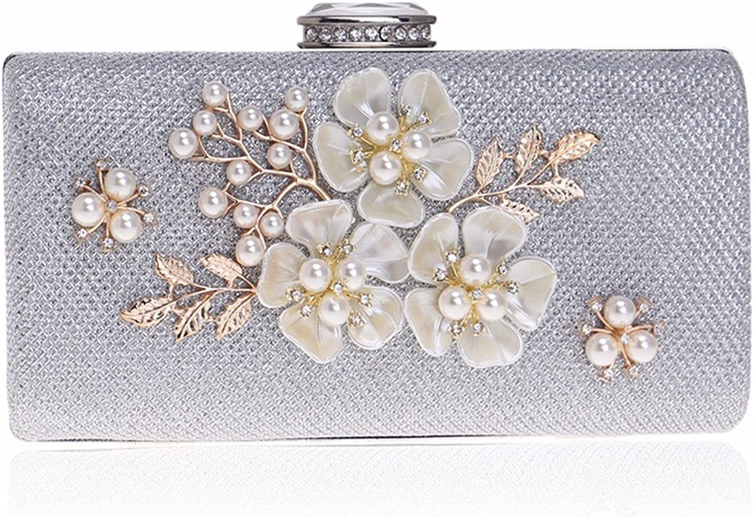 XJTNLB European and American Dinner Bag Pearl Evening Bag Ladies Dress Evening Clutch,Silvery