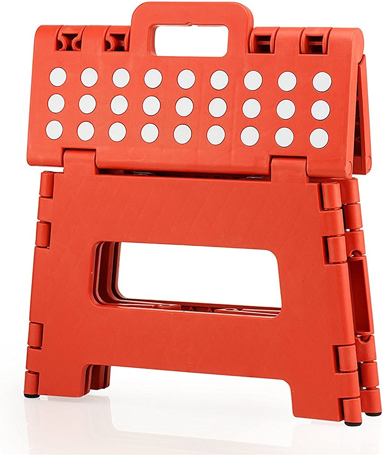 StepSafe Non Slip Folding Step Stool for Kids and Adults with Handle 9  in Height, Holds up to 300 Lb  (red)