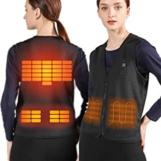 VALLEYWIND Lightweight Heated Vest, 5V USB Charging Warm Vest for Outdoor Camping Hiking Golf, Washable Heated Clothes Built-in 5 Pcs Heating Therapy Pad Fits Men and Women (Battery Not Included)