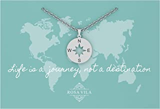 Rosa Vila Inspirational Compass Necklace, Friendship Compass Necklace for Women, I'd Be Lost Without You Friendship Necklace, Compass Jewelry, Silver, Gold, or Rose Gold Compass Necklace