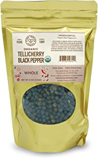 Tellicherry Black Peppercorns, Certified Organic (8 oz)
