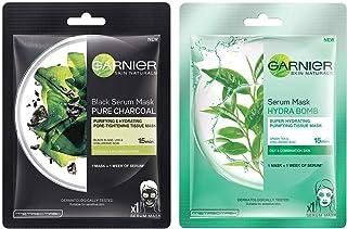 Garnier Skin Naturals Charcoal Face Serum Sheet Mask (Black) 28g & Green Tea Face Serum Sheet Mask (Green) 32g