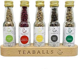 TEABALLS - Classic Selection Flaschen mit 5 Sorten: Minze, Grüner Tee, Schwarztee Earl Grey, Kamille, Früchtetee 5 x 12g | für ca. 60-120 Tassen Tee je Sorte | 100% Reines Pflanzenextrakt