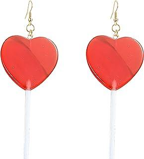 Cute 3D Heart Lollipop Resin Candy Stainless steel Earrings
