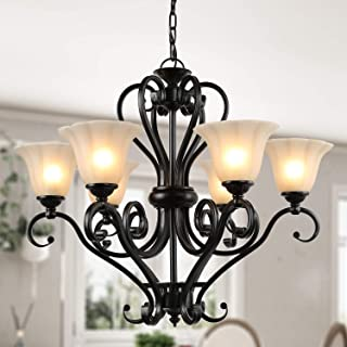 LNC A02335 Large 6-Light Chandelier Matte Black Finish with Amber Glass Shade