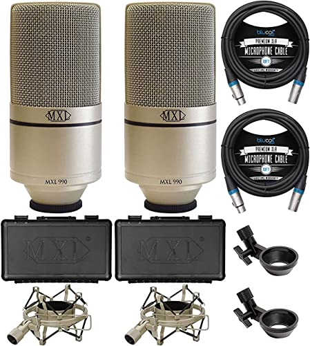 wholesale MXL discount 990 Cardioid Condenser Microphones for Vocal and Acoustic Instrument Recording wholesale (2-Pack) Bundle with Blucoil 10-FT Balanced XLR Cables (2-Pack) online sale