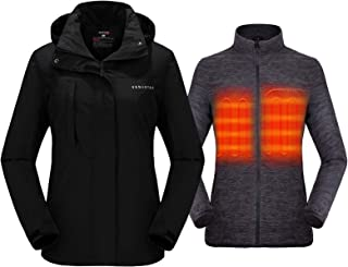 Women's 3-in-1 Heated Jacket with Battery Pack 5V, Ski...