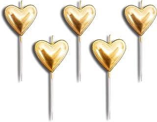 Givi Italia Velas con Forma de corazón Dorado para decoración de Tartas, cumpleaños, Bodas, Velas Elegantes, Juego de 5 Unidades