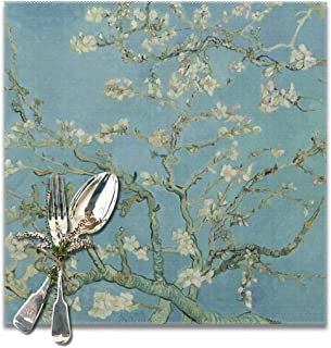 NiYoung Heat-Resistant Coffee Placemat Stain Resistant Washable Tablemats for Kitchen Dining Table Decoration, Non Slip Place Mat - 12x12 inch (Van Gogh Almond Blossom Art Mat)