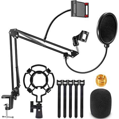 Renfox Supporto Microfono Regolabile Professionale Braccio per microfono Con Ragno e Adattatore per Studio Registrazione Programma TV, Compatibile con Microfono Blue Yeti (braccio per microfono)