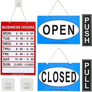 Business Hours Sign, Open Closed Push Pull Door Signs Kit - Vinyl Number Stickers & 2 Adhesive Hooks Included, Perfect for Business Store Bar Office Window
