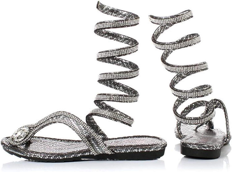 ZHOUZJ Summer Diamond Women Sandals Serpentine Leggings Flat Sandals Thong Gladiator Sandals Party shoes