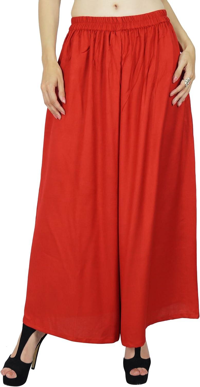 Bimba Women Flaired Rayon Plain Elastic Waist Wide Leg Palazzo Custom Pants