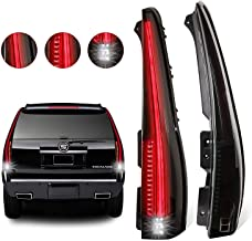 MOSTPLUS LED Tail Lights Rear for Cadillac Escalade 2007 2008 2009 2010 2011 2012 2013 2014 ESV Smoked Tinted.