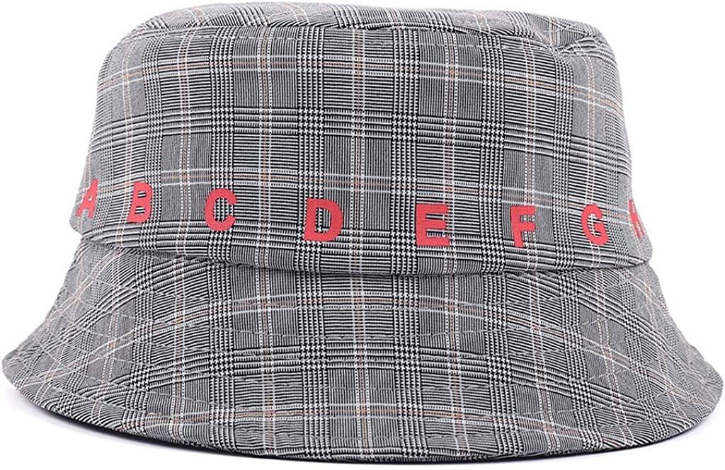 Gergeos Children Plaid Sun Hat Summer Reversible Foldable Wide Brim Cap for 2-4 Years