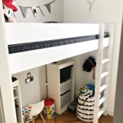 Hubi Loft Bunk Bed Cama alta, madera, Palisander, 140x70x160