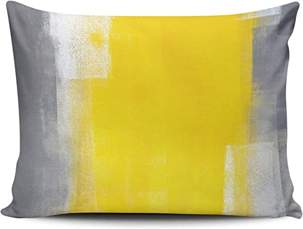 XIUBA Pillowcases Suit Up Grey And Yellow Abstract Art Customizable Cushion Decorative Rectangle 12x20 Inch Boudoir Size Throw Pillow Cover Case Hidden Zipper One Side Design Printed