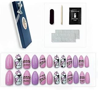 Press On Nails Tips 24 Pcs False Nails Stiletto Shape Nails for Women