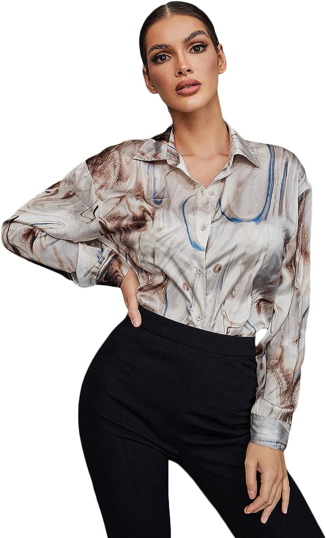 Verdusa Women's Drop Shoulder Printed Button Down Satin Blouse Shirt Top