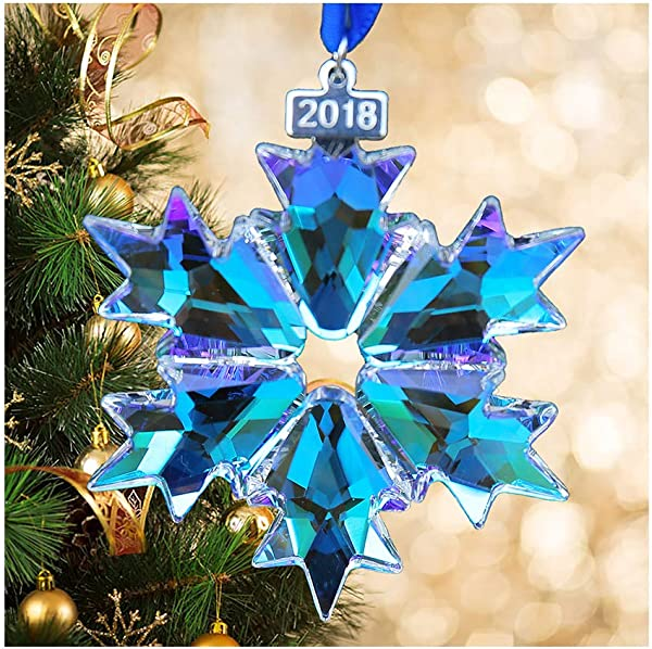 XIANGBAN 2018 Christmas Crystal Snowflake Decoration Car Rearview Mirror Beauty Charm Pendant AB