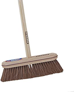 Superio Kitchen and Home Horsehair Broom With Wood Handle, Fine Premium Bristles - Heavy Duty Household Broom Easy Swiping...