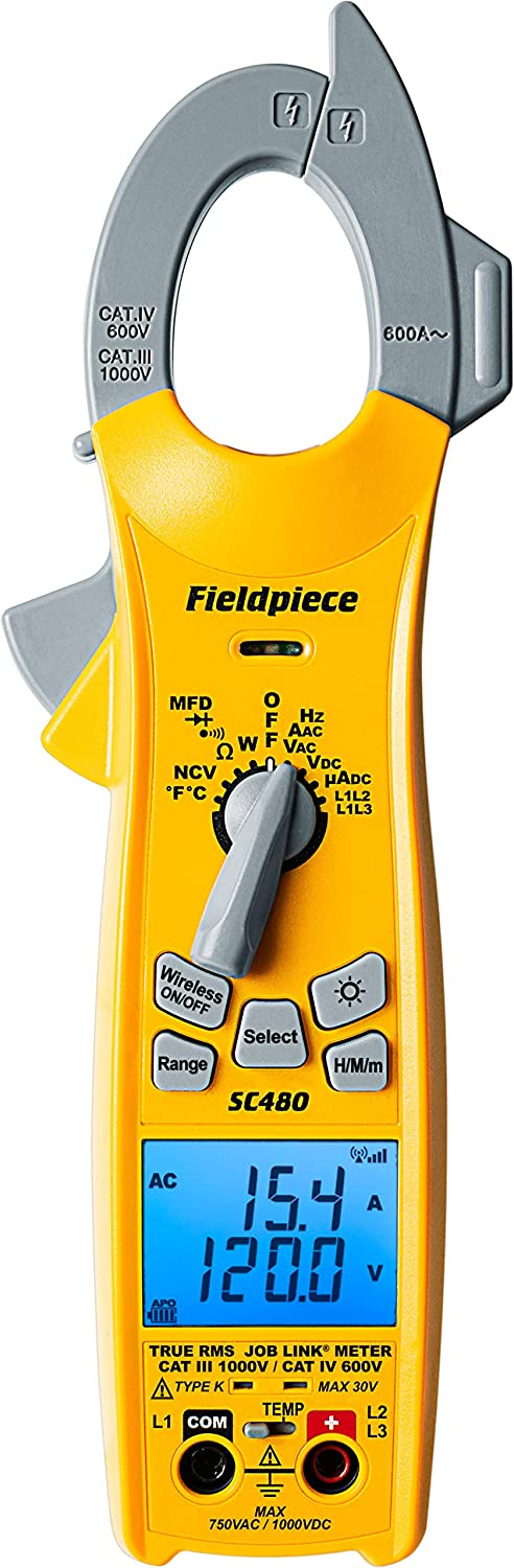 Fieldpiece SC480 True-RMS Limited time trial price Wireless AC Chicago Mall Multimeter Clamp