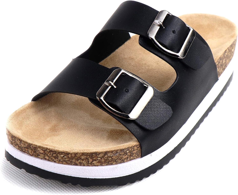 Heltid Women's Open Toe Cork Footbed Platform Slide Sandals 2 Strap Double Buckle