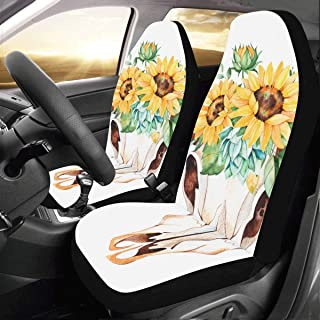 Bull Head Skull with Flowers Custom New Universal Fit Auto Drive Car Seat Covers Protector for Women Automobile Jeep Truck SUV Vehicle Full Set Accessories for Adult Baby (Set of 2 Front)
