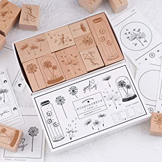 RisyPisy Wooden Rubber Stamp Set, 9pcs Decorative Mounted Rubber Stamps with Seeds Travel Printed & 12 Sheets Ins Style No...