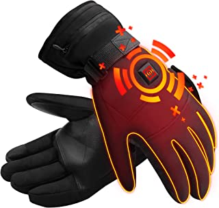 IFWATER Men Woman Electric Gloves with 3 Heating Temperature Adjustable,Hand Warmer Heated Gloves with 3.7V Rechargeable Batteries,Insulated Thermal Cotton Gloves,Heated Motocycle Hiking Gloves