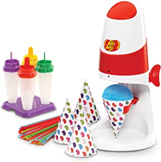 Jelly Belly JB15933 Ice Treats Party Pack Includes Electric Ice Shaver Flute Pops Mold 20 Cone Cups and Straws and 16 servings Each of Jelly Belly Berry Blue and Very Cherry Premium Flavor Syrups