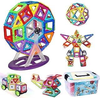 iKing マグネットおもちゃ 収納ケース付き 観覧車 四角形 三角形 車 94PCS